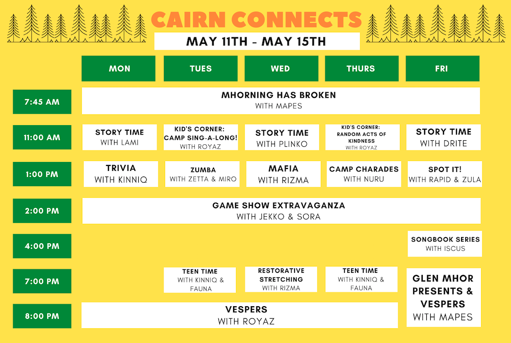 May 11-15 Cairn Connects Schedule
