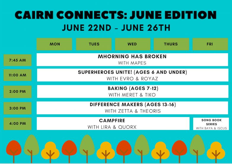 June 22-26 Cairn Connects Schedule
